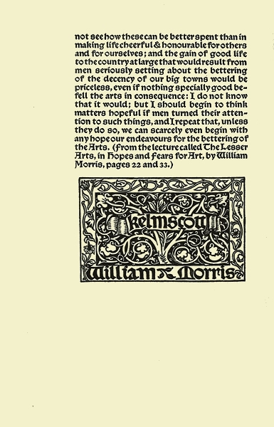 william morris printing essay Read an essay on printing by william morris by william morris for free with a 30 day free trial read ebook on the web, ipad, iphone and android.